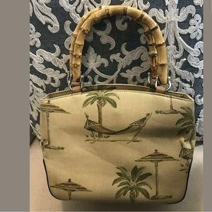 Relic Tropical Canvas Purse With Bamboo Handles